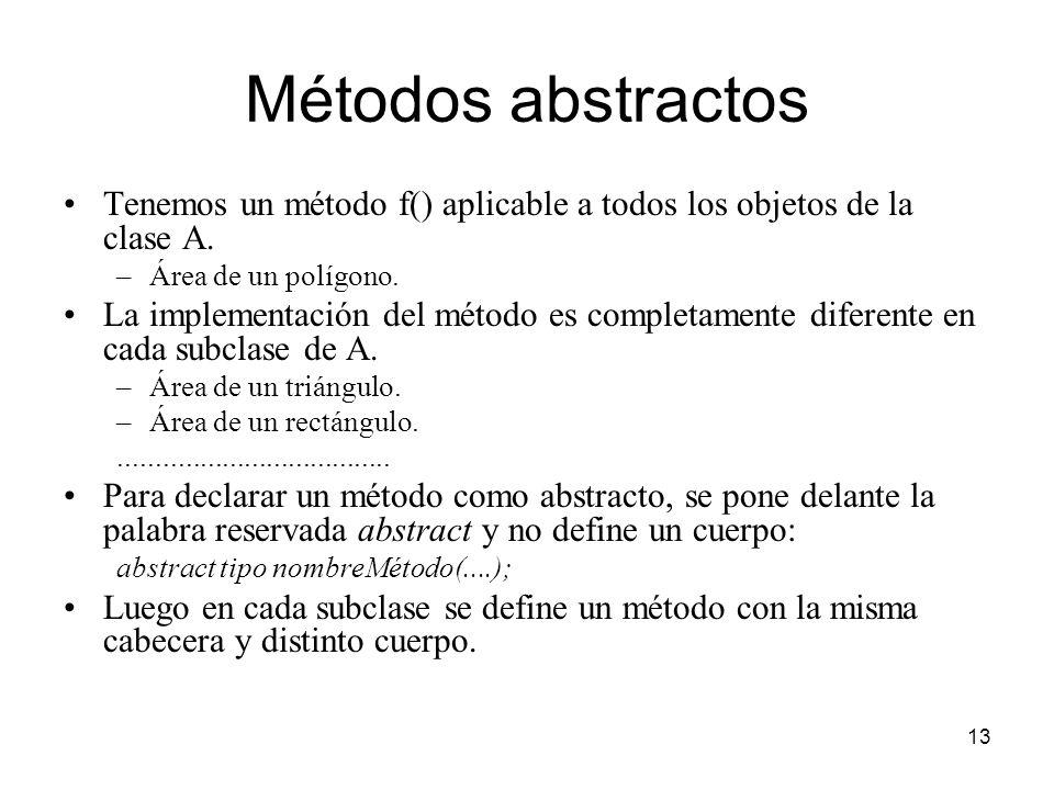 Métodos abstractos Tenemos un método f() aplicable a todos los objetos de la clase A. Área de un polígono.