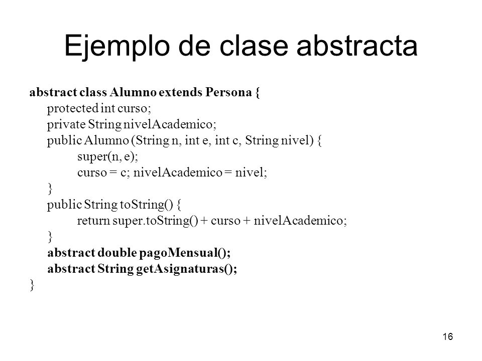Ejemplo de clase abstracta