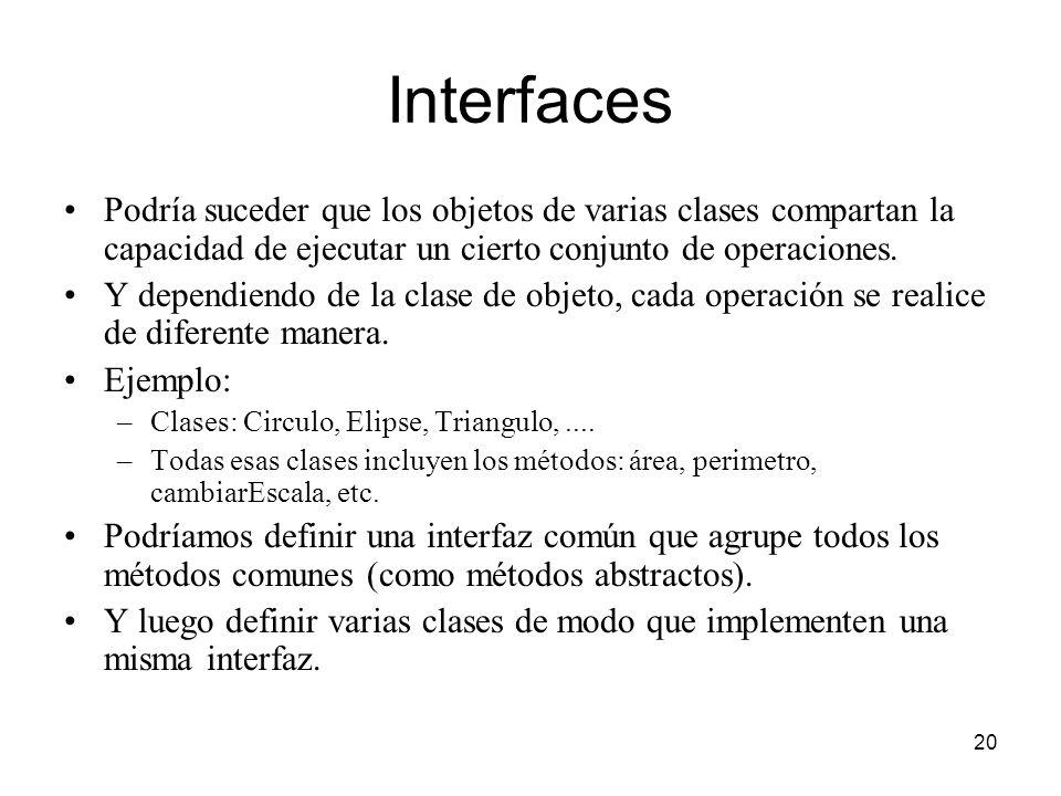 Interfaces Podría suceder que los objetos de varias clases compartan la capacidad de ejecutar un cierto conjunto de operaciones.