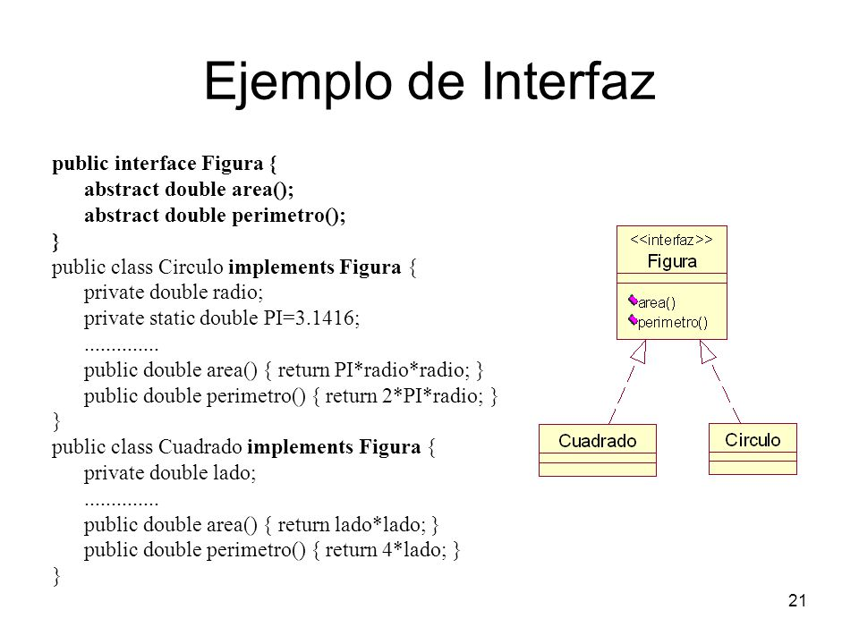 Ejemplo de Interfaz public interface Figura { abstract double area();