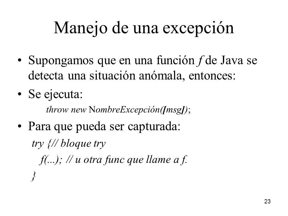 Manejo de una excepción