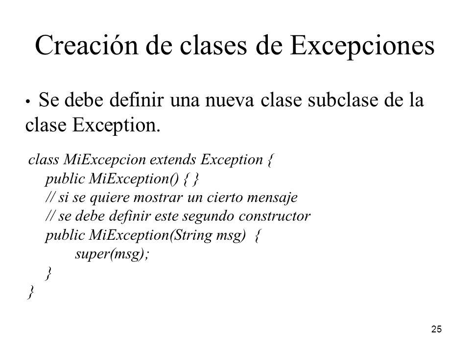 Creación de clases de Excepciones