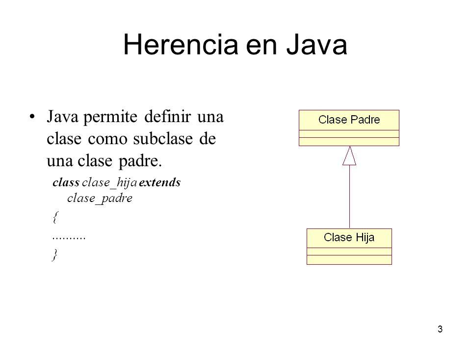 Herencia en Java Java permite definir una clase como subclase de una clase padre. class clase_hija extends clase_padre.