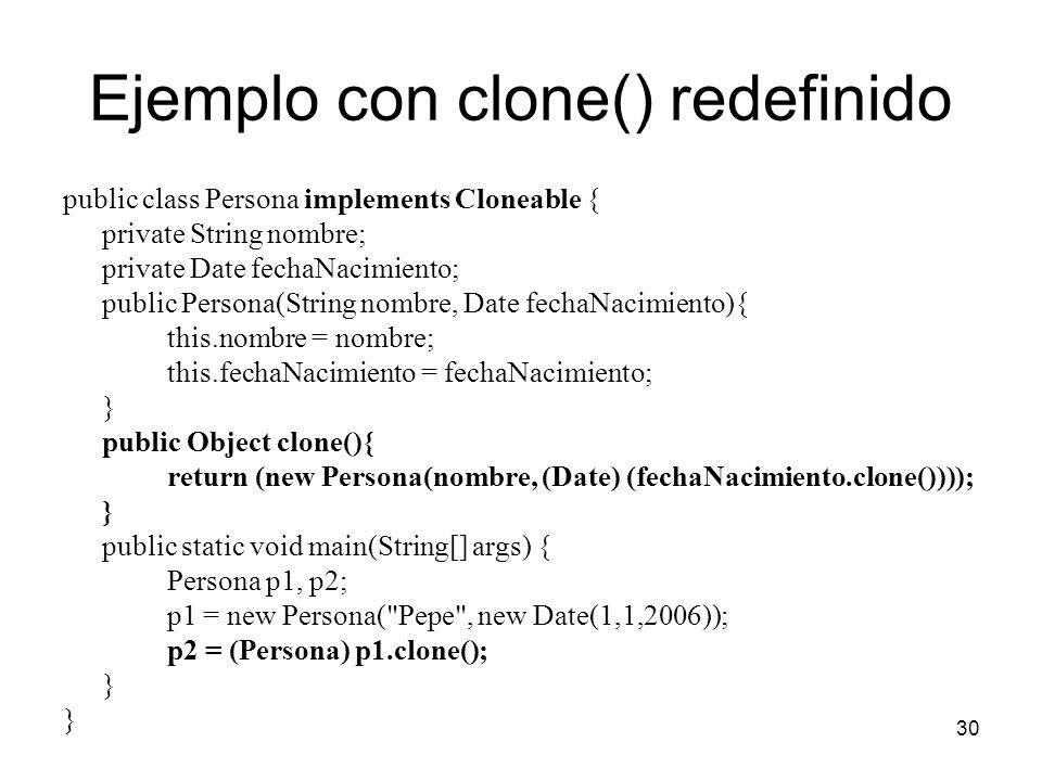 Ejemplo con clone() redefinido