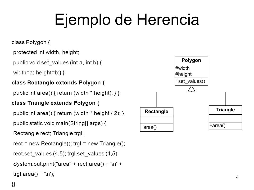 Ejemplo de Herencia class Polygon { protected int width, height;