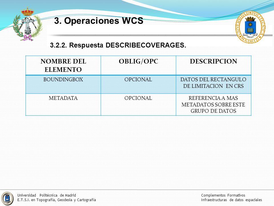 3. Operaciones WCS 3.2.2. Respuesta DESCRIBECOVERAGES.