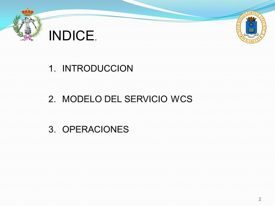 INDICE. INTRODUCCION MODELO DEL SERVICIO WCS OPERACIONES