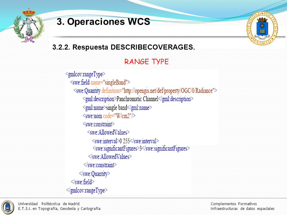 3. Operaciones WCS 3.2.2. Respuesta DESCRIBECOVERAGES. RANGE TYPE
