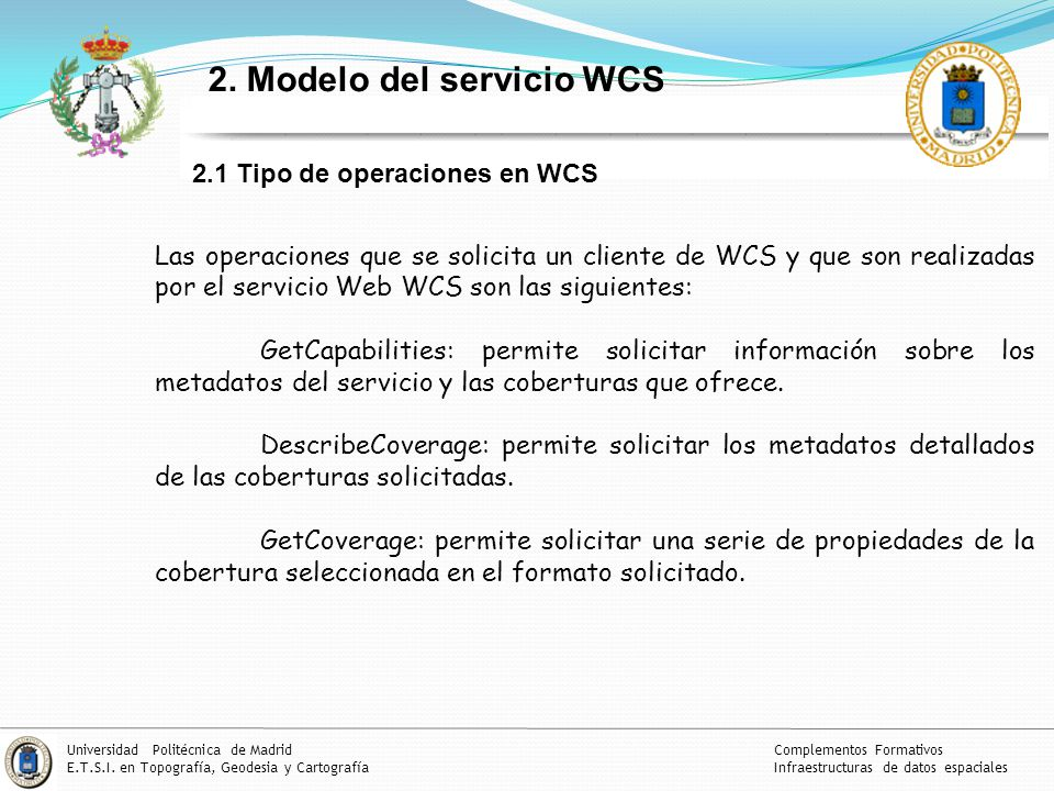 2. Modelo del servicio WCS