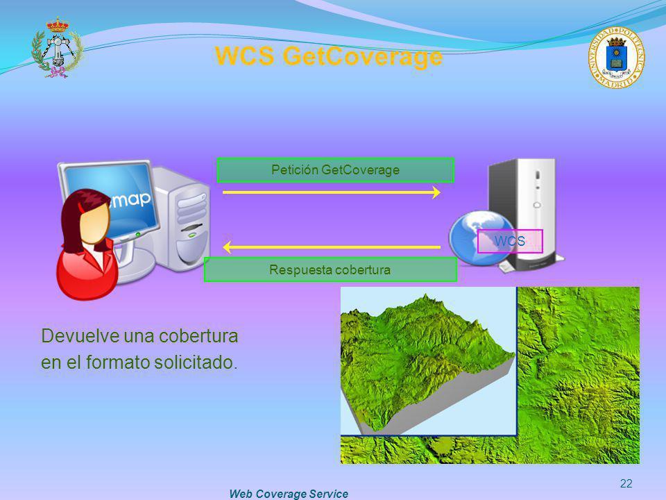 WCS GetCoverage Devuelve una cobertura en el formato solicitado.
