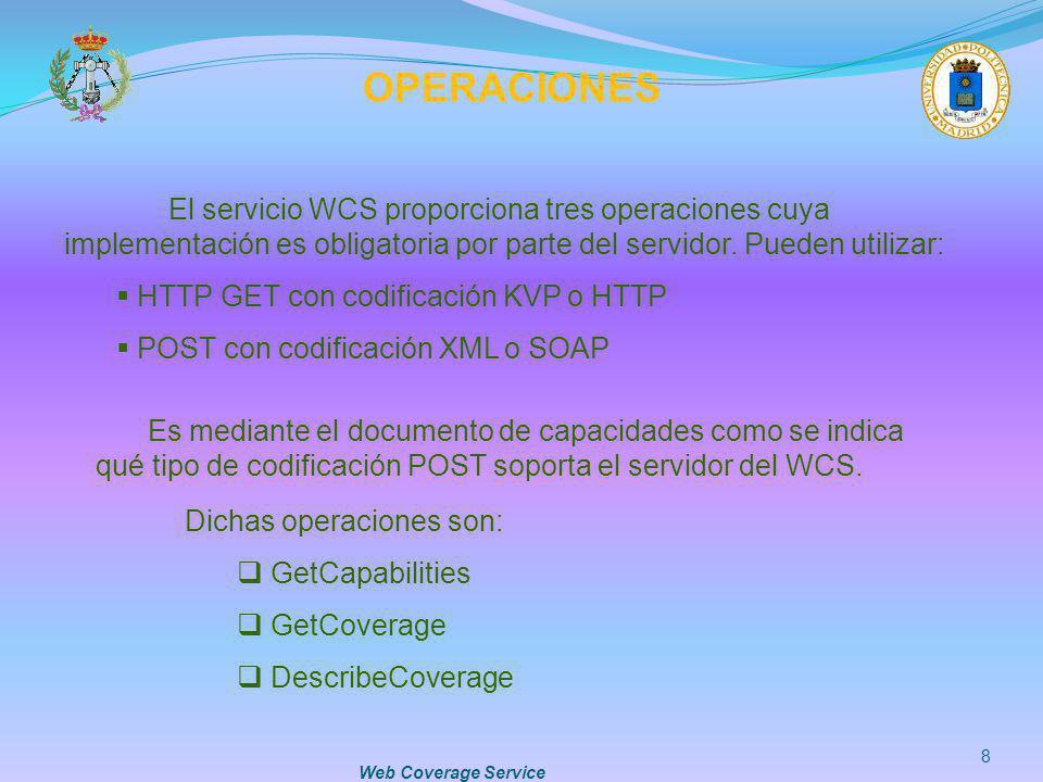 OPERACIONES El servicio WCS proporciona tres operaciones cuya implementación es obligatoria por parte del servidor. Pueden utilizar: