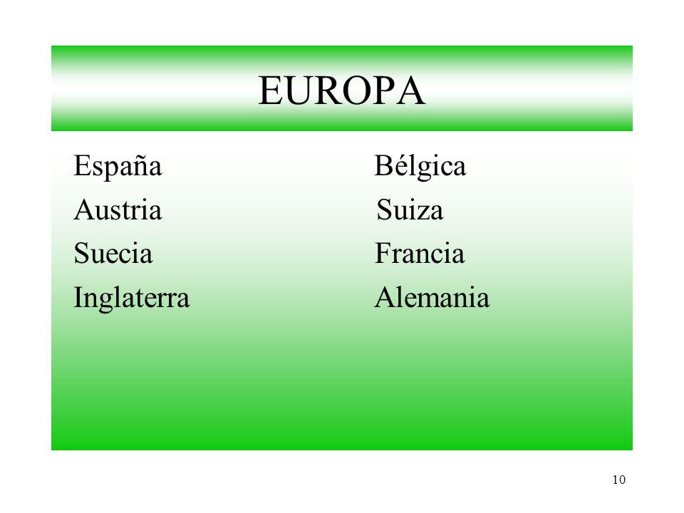 EUROPA España Bélgica. Austria Suiza. Suecia Francia.