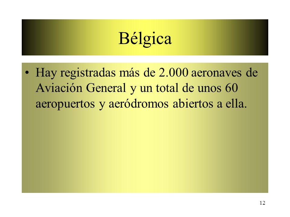 Bélgica Hay registradas más de 2.000 aeronaves de Aviación General y un total de unos 60 aeropuertos y aeródromos abiertos a ella.