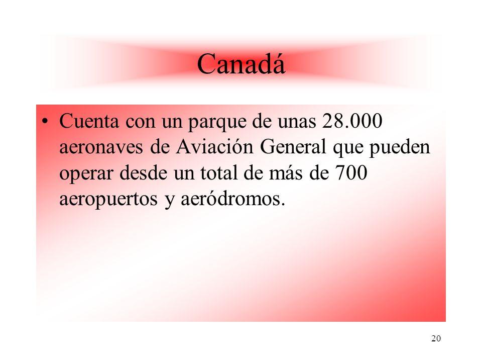 Canadá Cuenta con un parque de unas 28.000 aeronaves de Aviación General que pueden operar desde un total de más de 700 aeropuertos y aeródromos.