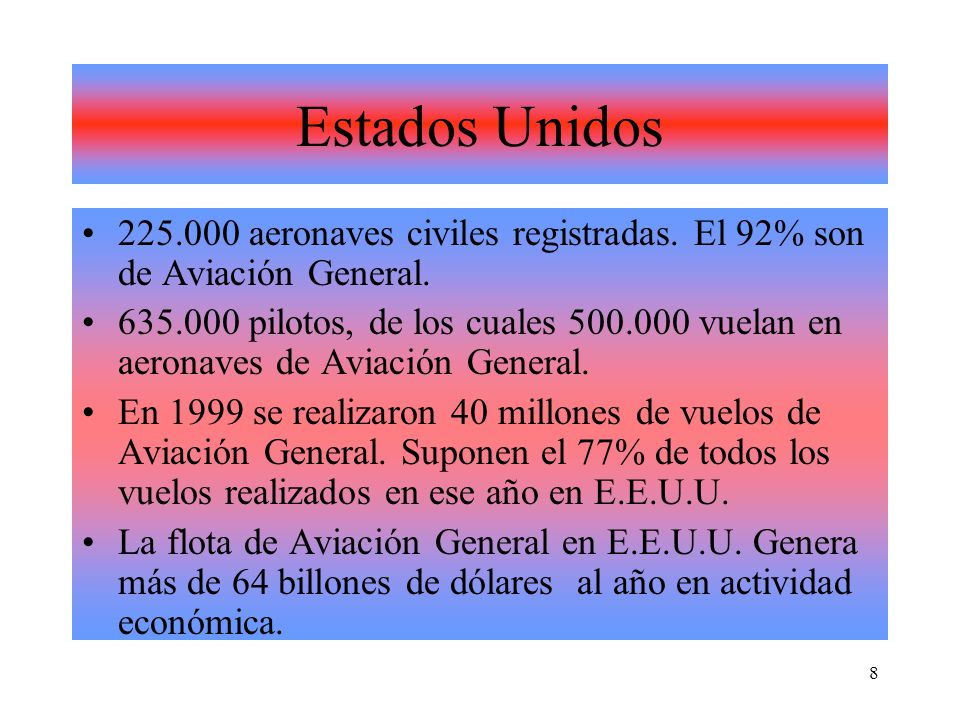 Estados Unidos 225.000 aeronaves civiles registradas. El 92% son de Aviación General.