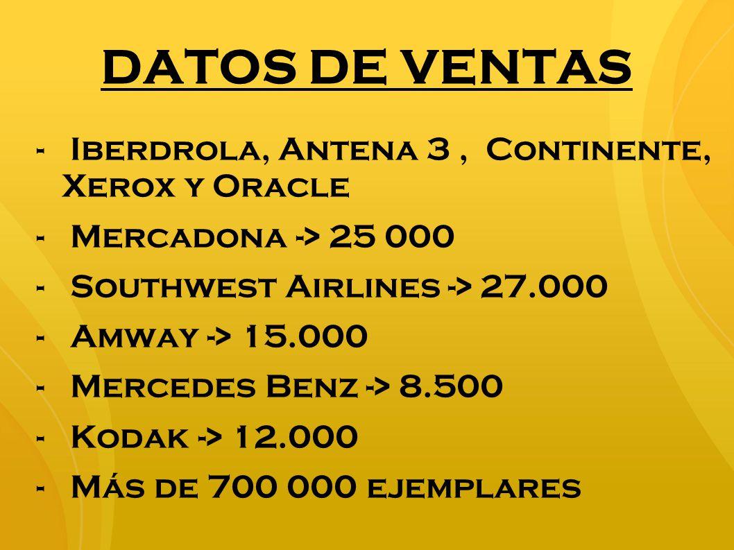 DATOS DE VENTAS Iberdrola, Antena 3 , Continente, Xerox y Oracle