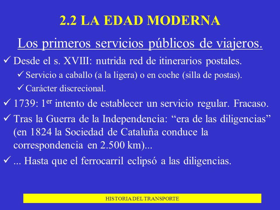 Los primeros servicios públicos de viajeros.
