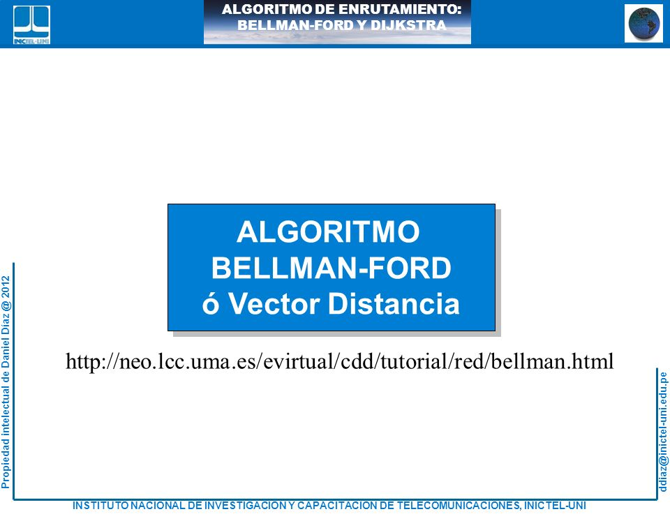 ALGORITMO BELLMAN-FORD ó Vector Distancia