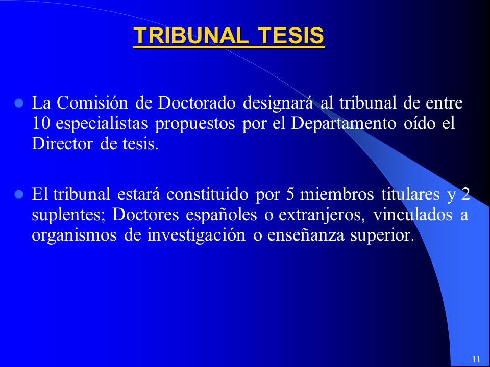 TRIBUNAL TESIS La Comisión de Doctorado designará al tribunal de entre 10 especialistas propuestos por el Departamento oído el Director de tesis.