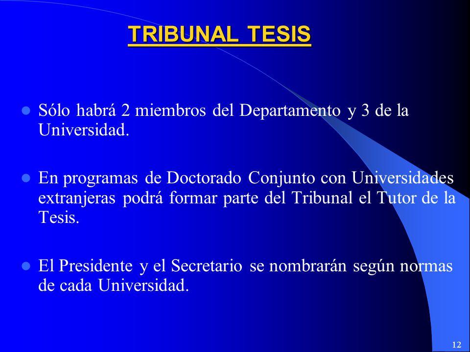 TRIBUNAL TESIS Sólo habrá 2 miembros del Departamento y 3 de la Universidad.