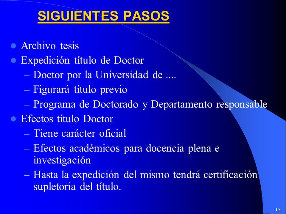 SIGUIENTES PASOS Archivo tesis Expedición título de Doctor