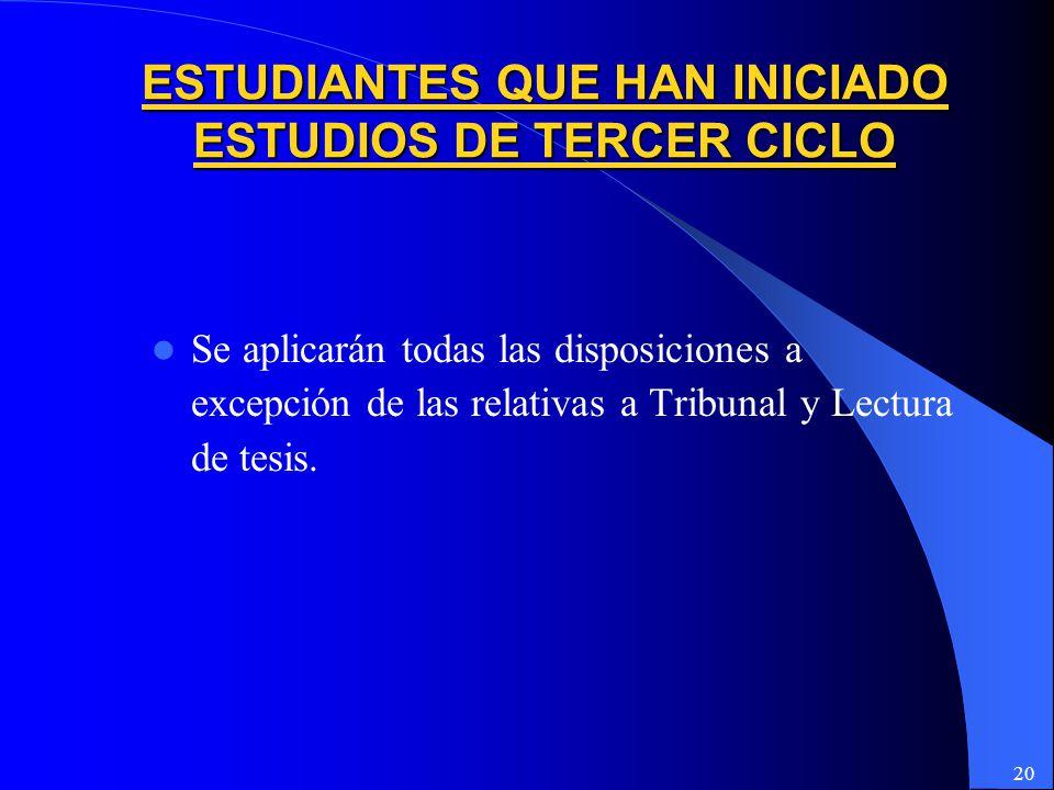 ESTUDIANTES QUE HAN INICIADO ESTUDIOS DE TERCER CICLO