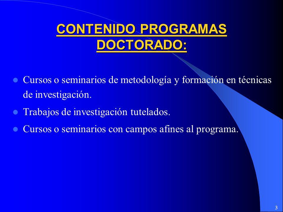 CONTENIDO PROGRAMAS DOCTORADO: