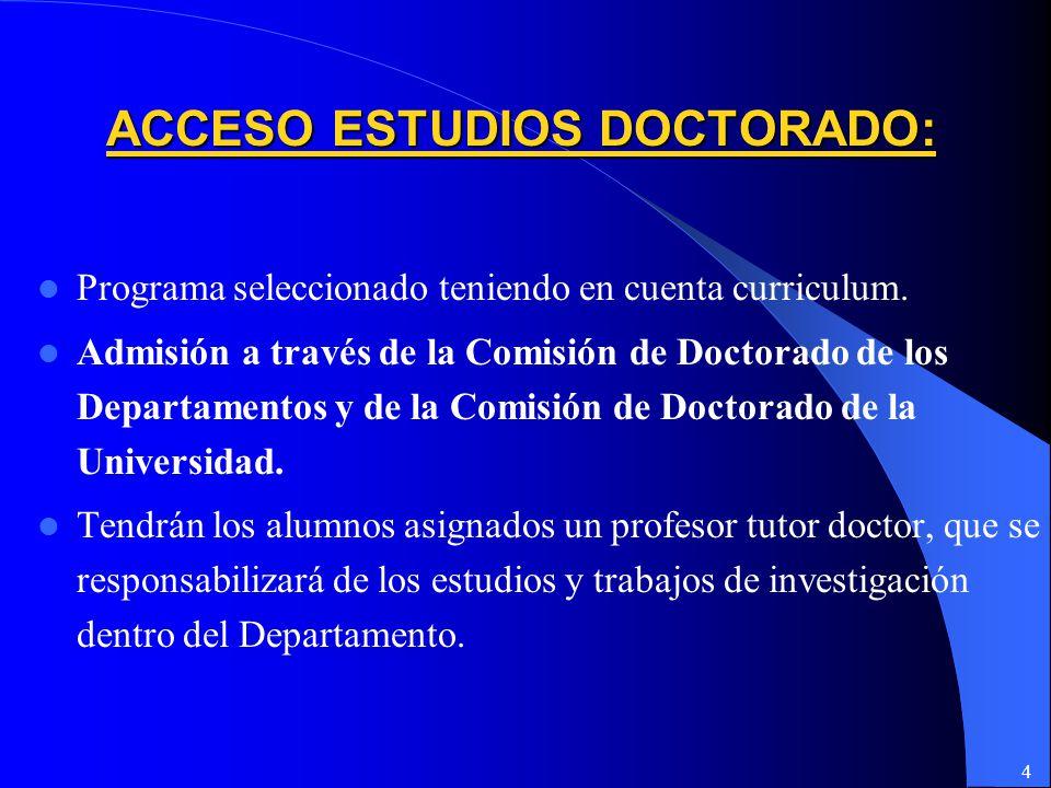 ACCESO ESTUDIOS DOCTORADO: