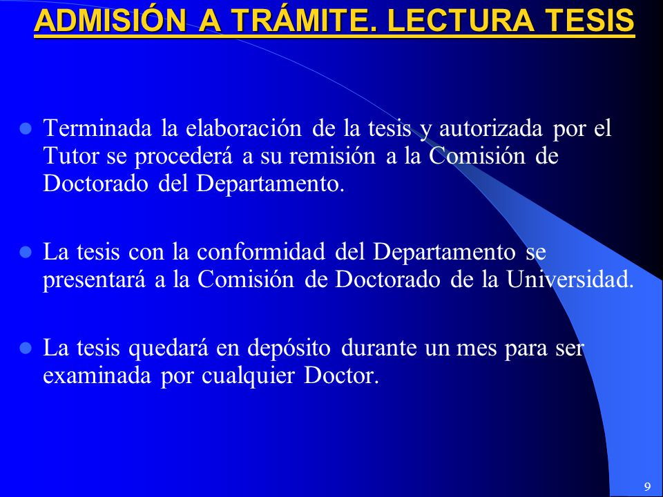 ADMISIÓN A TRÁMITE. LECTURA TESIS