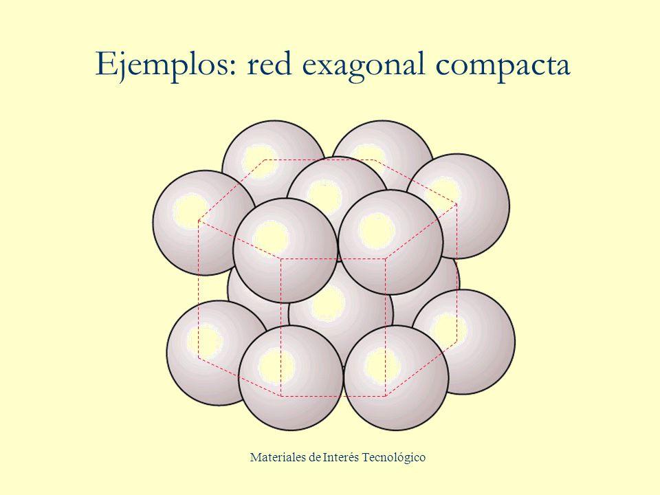 Ejemplos: red exagonal compacta