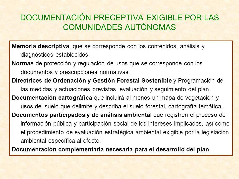 DOCUMENTACIÓN PRECEPTIVA EXIGIBLE POR LAS COMUNIDADES AUTÓNOMAS