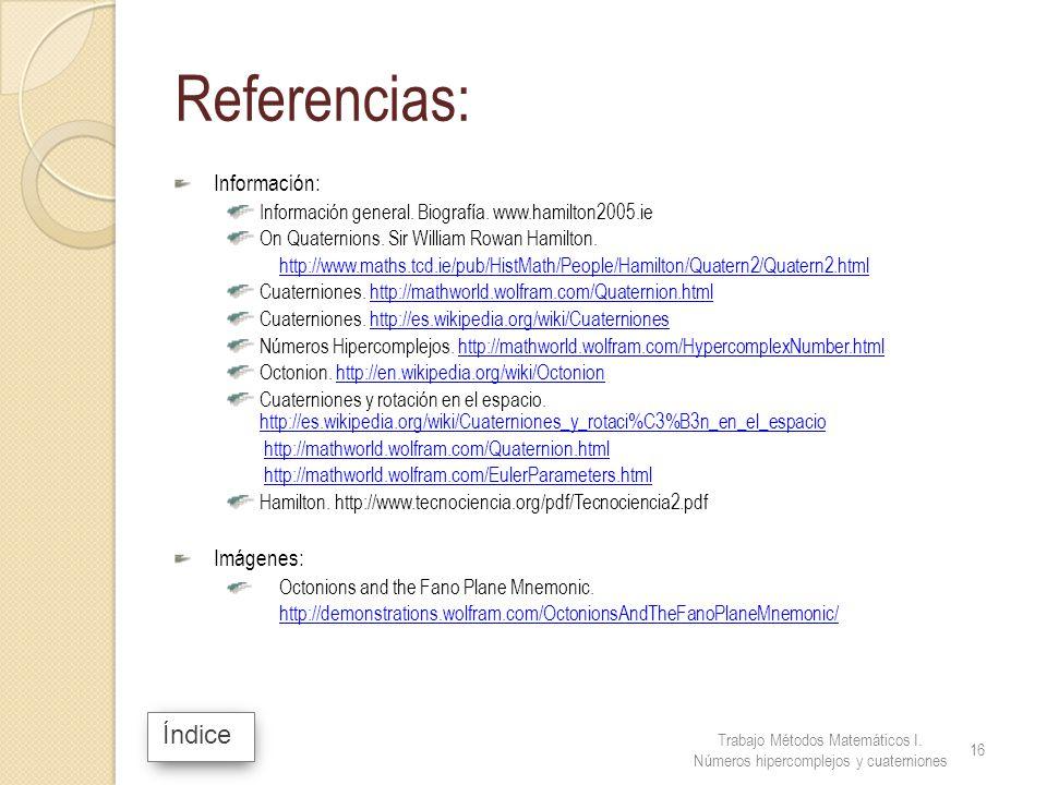 Referencias: Índice Información: Imágenes: