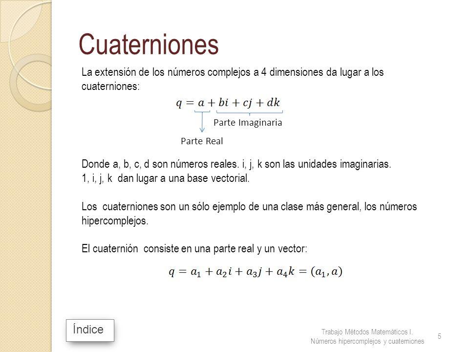 Cuaterniones La extensión de los números complejos a 4 dimensiones da lugar a los cuaterniones: