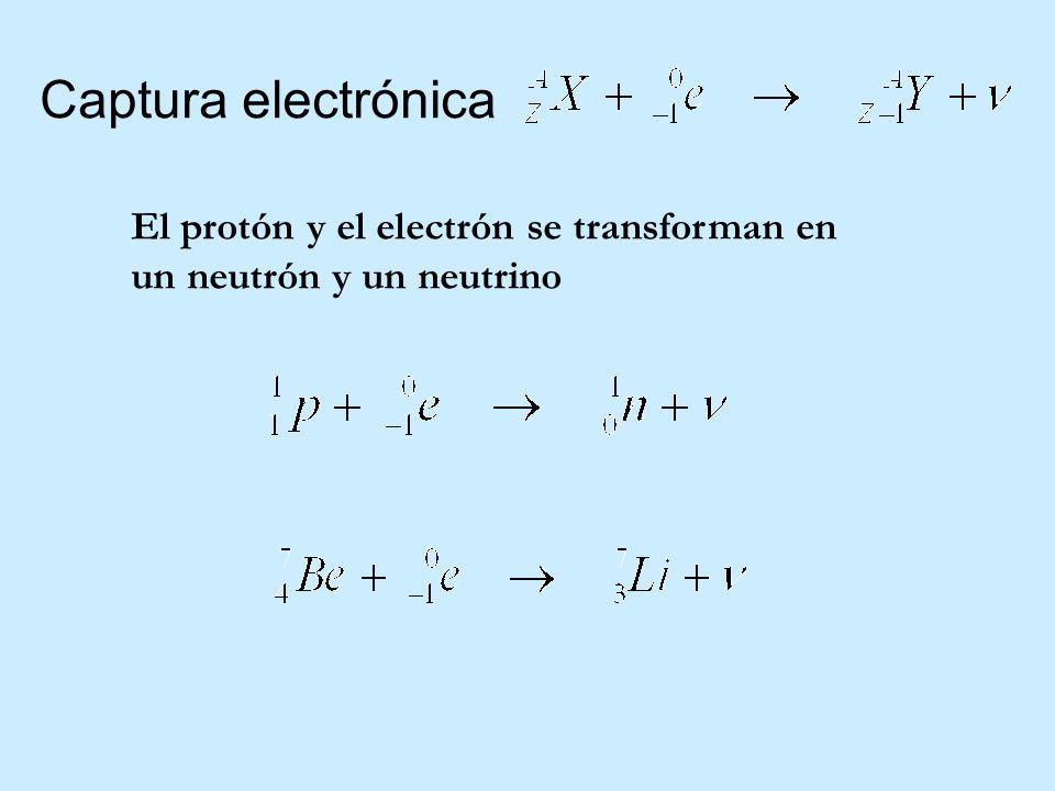 Captura electrónica El protón y el electrón se transforman en un neutrón y un neutrino