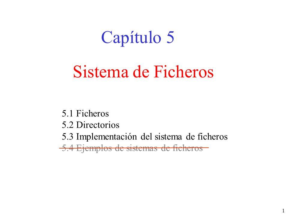 Capítulo 5 Sistema de Ficheros 5.1 Ficheros 5.2 Directorios