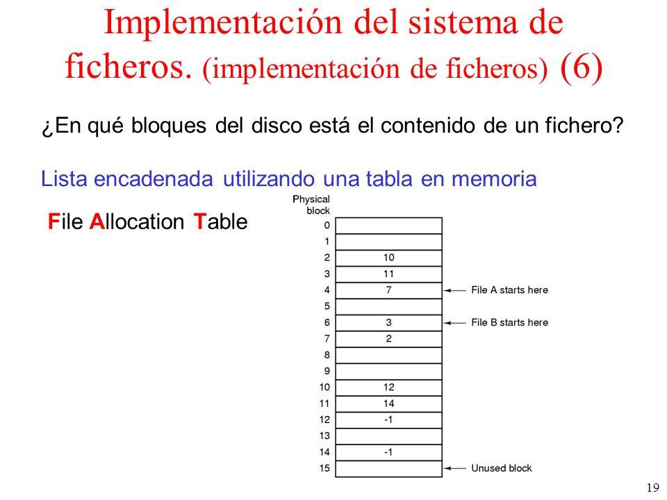 Implementación del sistema de ficheros