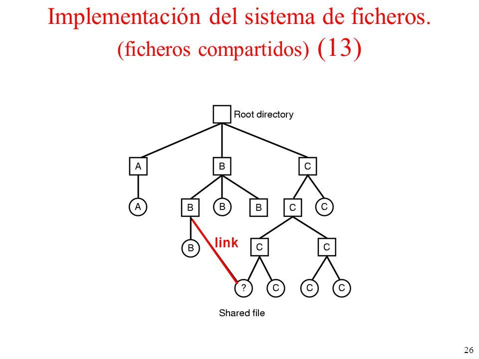 Implementación del sistema de ficheros. (ficheros compartidos) (13)