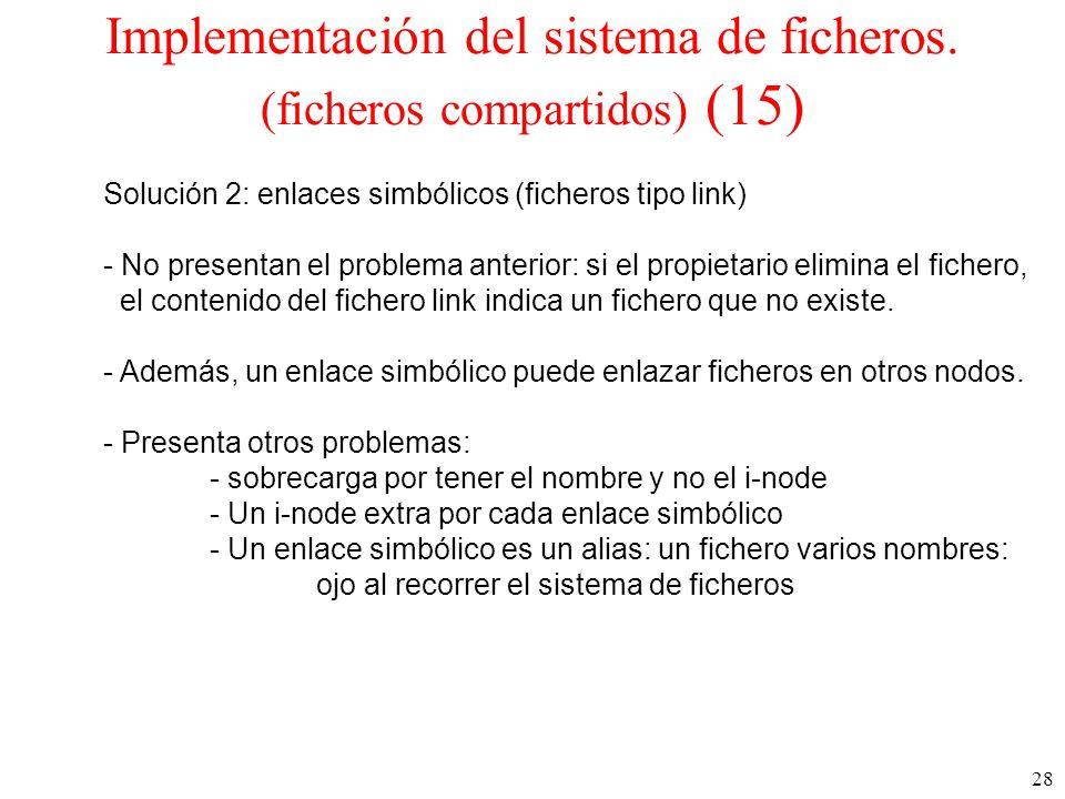 Implementación del sistema de ficheros. (ficheros compartidos) (15)