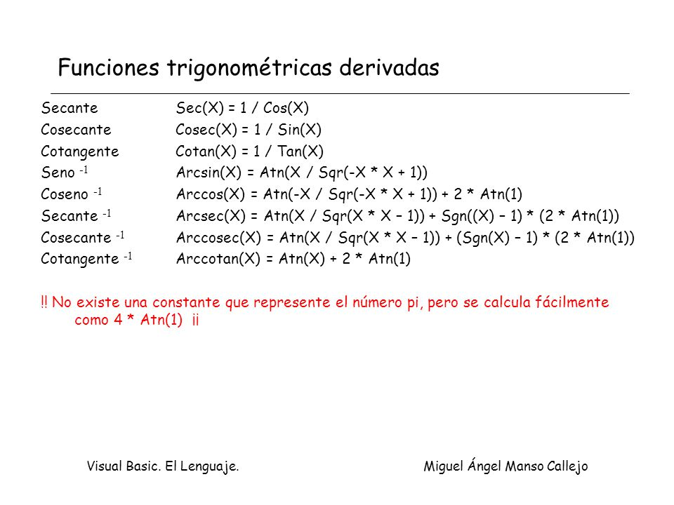 Funciones trigonométricas derivadas