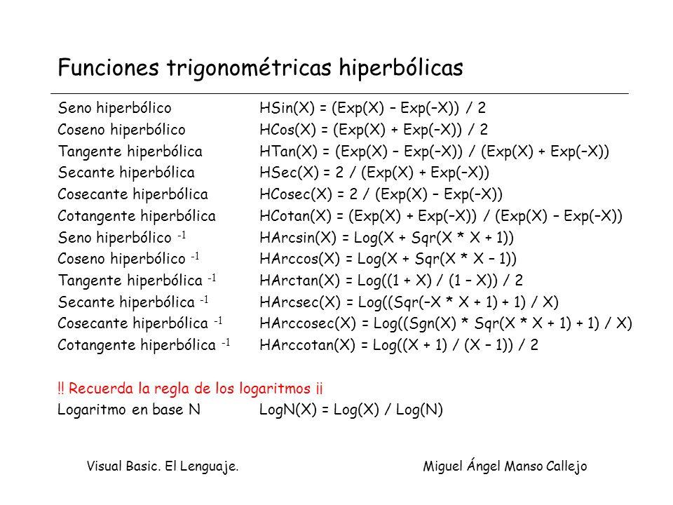 Funciones trigonométricas hiperbólicas