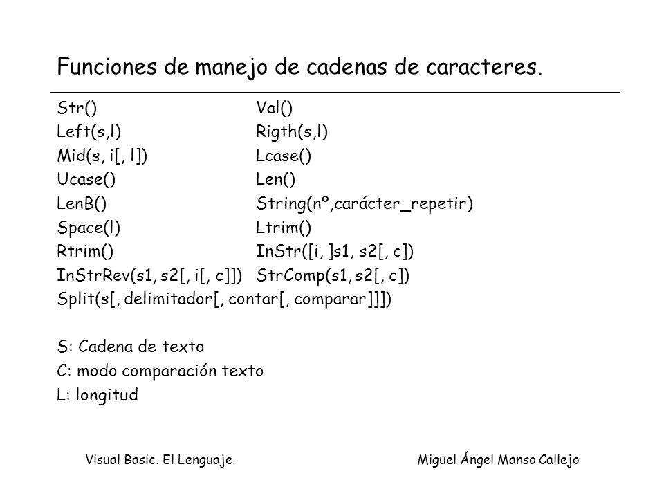Funciones de manejo de cadenas de caracteres.