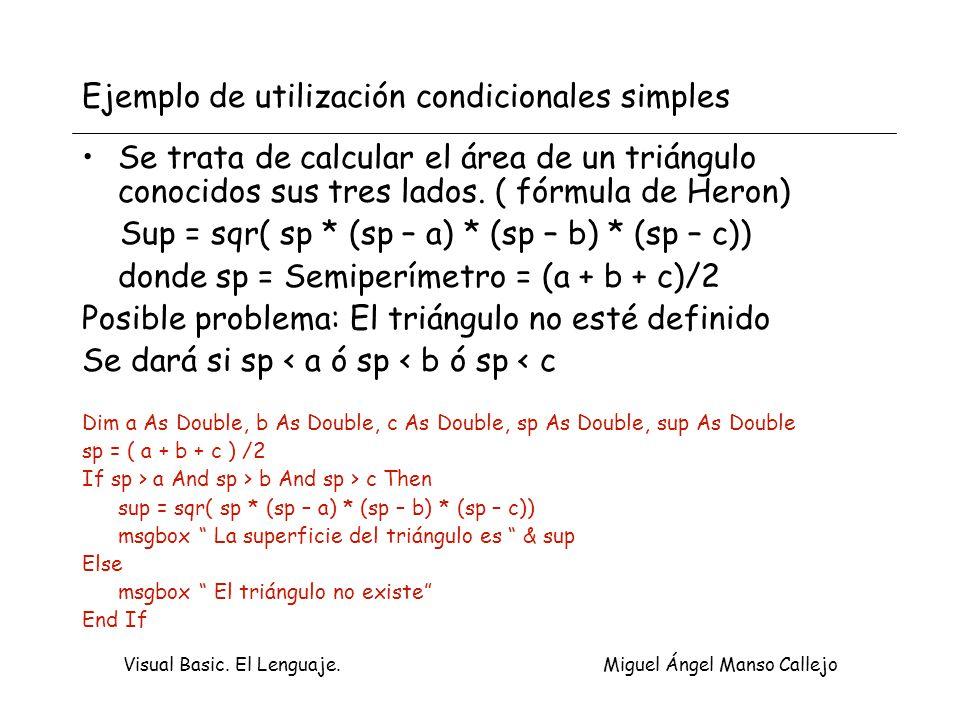 Ejemplo de utilización condicionales simples