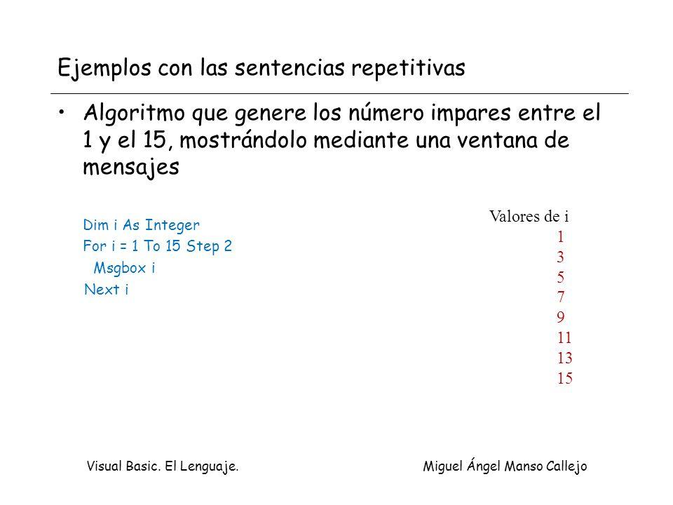 Ejemplos con las sentencias repetitivas