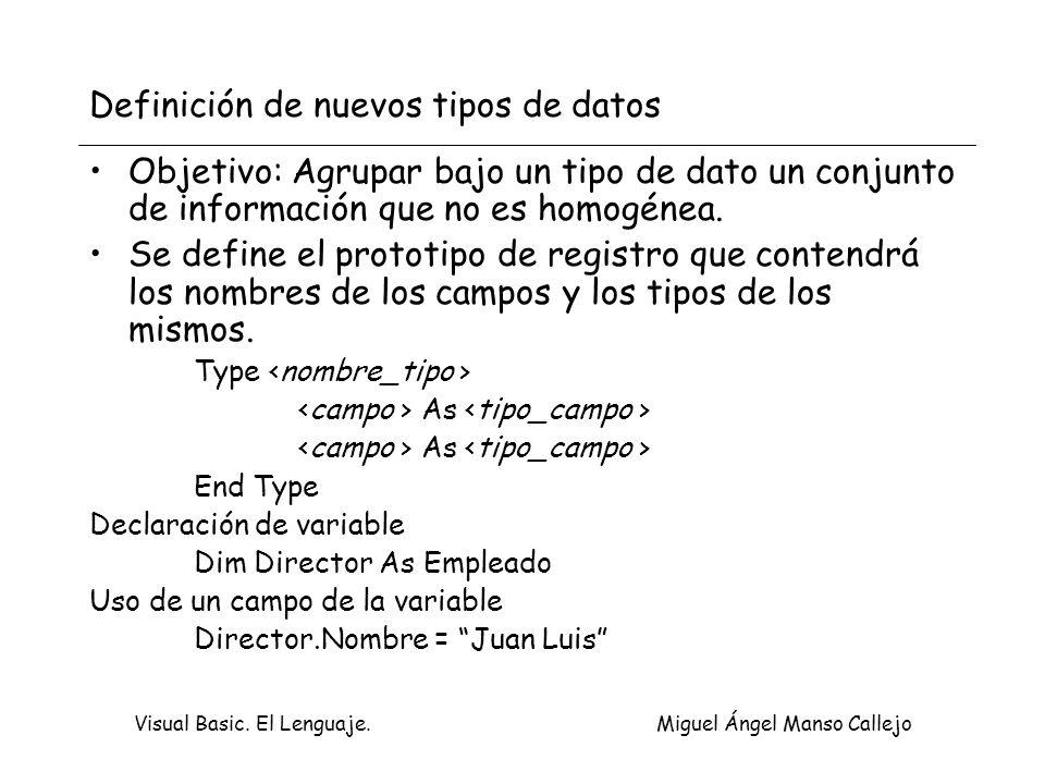 Definición de nuevos tipos de datos