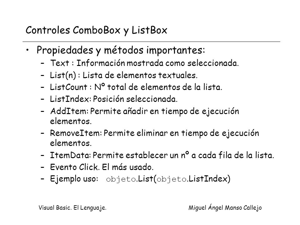 Controles ComboBox y ListBox