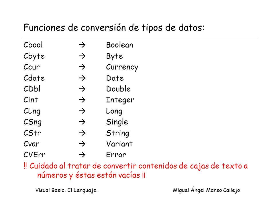 Funciones de conversión de tipos de datos: