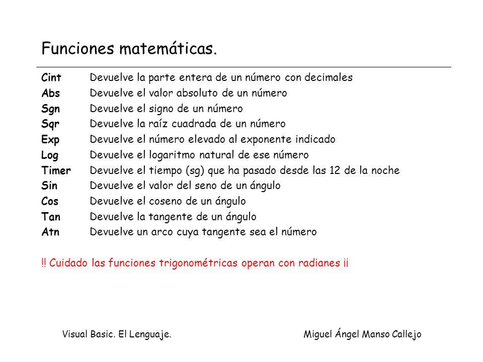 Funciones matemáticas.