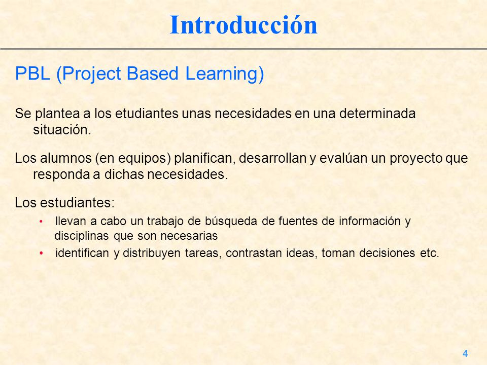 Introducción PBL (Project Based Learning)