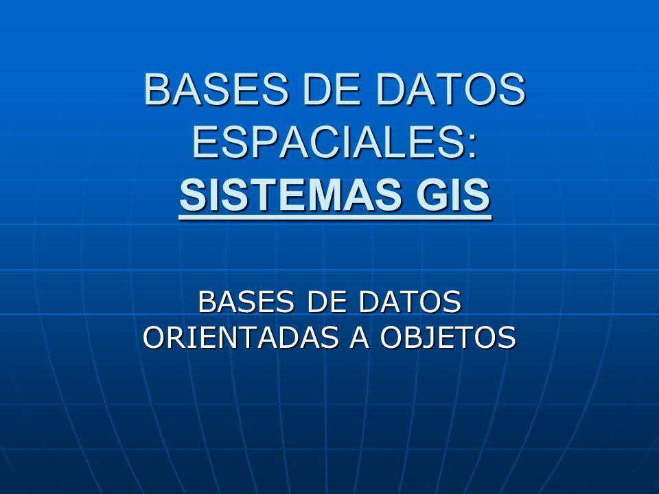 BASES DE DATOS ESPACIALES: SISTEMAS GIS
