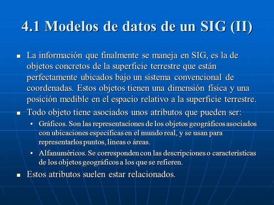 4.1 Modelos de datos de un SIG (II)